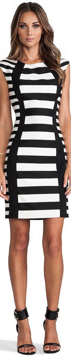 Trina Turk B&W striped dress.