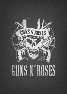 Guns N Roses, Legend Symbol, Band Logos, New Wall, Poster Prints, Posters, Retro Vintage, Mono Print, Symbols