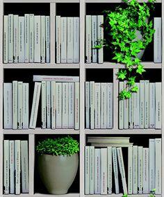 Muriva Bookshelves Natural Wallpaper