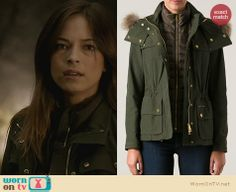 Cat's green jacket on Beauty and the Beast. Outfit Details: http://wornontv.net/22803 #BeautyandtheBeast