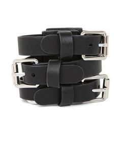 BCBGMAXAZRIA Faux Leather Buckle Strap Bracelet, $48; bcbg.com #bracelets #budget