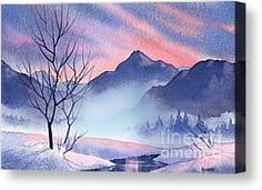 Mountain Silhouette Painting by Teresa Ascone - Mountain Silhouette Fine Art Prints and Posters for Sale