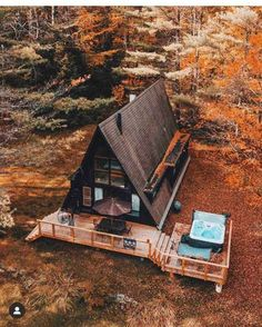A-shaped cabin (A frame also known as chalet) built in wood. - A-shaped cabin (A frame also known as a chalet) built in wood in the Vermont state region of … - Tiny House Cabin, Tiny House Design, Cabin Homes, A Frame House Plans, A Frame Cabin, A Frame Homes, Cabins In The Woods, House In The Woods, Little Cabin