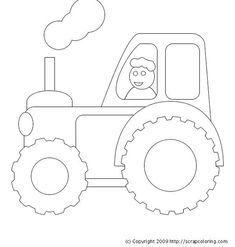 """A tractor to color, with very big wheels and tires to go from the farm to the fields. """"Old MacDonald had a tractor e i e i o! More coloring pages on the same themes:. Tractor on the Road. Free Coloring Sheets, Coloring Pages To Print, Coloring Book Pages, Printable Coloring Pages, Coloring Pages For Kids, Tractor Coloring Pages, Tractors For Kids, Quiet Book Templates, Tractor Birthday"""
