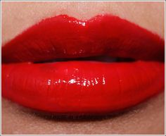 MAC Russian Red Lipglass layered over Russian Red Lipstick