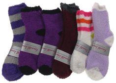 Lot of 6 Pairs Cozy Socks 4-10 Women Crew Fuzzy Kenneth Jones Warm Purple Black - FUNsational Finds - 1