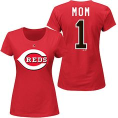 Because Mom is ALWAYS #1. She will surely love this Cincinnati Reds Womens #1 MOM Name and Number T-Shirt by Majestic Athletic. $24.99.