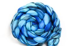 Cerulean Overdyed Gray Merino Roving 113g 4.0oz, $19.00 by Unwind Yarn Company