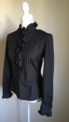 Talbots Collection Stretch Black Ruffles Detail Career Shirt Top Blouse Sz 4  | eBay