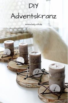 DIY Advent wreath, Advent wreath alternative, make your own Christmas decorations, make Christmas de Advent Wreath, Diy Wreath, German Christmas, Christmas Diy, Diy Candles Video, Soy Candle Making, Tree Slices, Diy Crafts To Do, Deco Floral