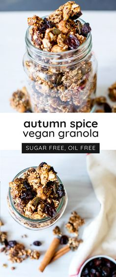Make your home smell wonderful with this healthy, autumn spiced granola. It's oil-free, refined sugar-free, and completely vegan - a delicious breakfast!