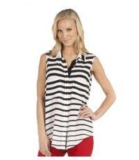In love with this Stripe Sleeveless Shirt from @Karen_Kane