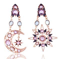 Exaggerated Vintage Bohemia Multicolor Asymmetric Gold Plated Crystal Sun and Moon Dangle Earrings For Women 5180034 2017 – $5.27