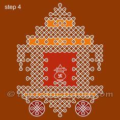 This page provides Ratham Rangoli Designs and Patterns for Hindu festivals. Ratham Rangoli is also known as Rath Rangoli and Chariot Rangoli. Simple Rangoli Designs Images, Rangoli Designs With Dots, Rangoli Designs Diwali, Kolam Rangoli, Flower Rangoli, Rangoli With Dots, Beautiful Rangoli Designs, Kolam Designs, Mehandi Designs