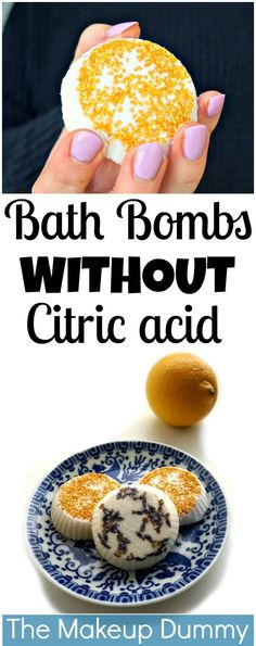 DIY Bath Bombs with lemon juice and  WITHOUT citric acid or cream of tartar! Tutorial by The Makeup Dummy