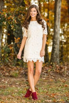 Lace is a huge trend this season! This ivory lace dress is a must have for any occasion! City chic or country living! Absolutely perfect!