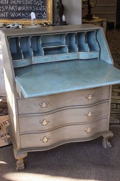 Update your traditional furniture with Chalk Paint and a few tips.Often times we are asked at the shop to hunt for specific pieces of vintage furniture for clients. We have contacts with auction. Refurbished Furniture, Repurposed Furniture, Shabby Chic Furniture, Furniture Makeover, Vintage Furniture, Rustic Furniture, Dresser Makeovers, Desk Makeover, Outdoor Furniture