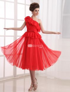 A-line Red Chiffon One-Shoulder Tea-Length Prom Dress. See More A-line at http://www.ourgreatshop.com/A-line-C938.aspx