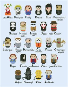 Horror Movies alphabet sampler - Movies - Mini People - Cross Stitch Patterns - Products