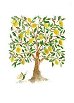 Arte de impresión el limonero, arte inspirado, impresión de la acuarela, verde, marrón y amarillo, abra segunda edición, Mediterráneo