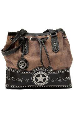 M&F® Nocona™ Ladies Brown and Faux Brindle with Star Concho Drawstring Handbag