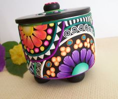 polymer clay boxes | Mosaic Polymer Clay Box - recycled art can - kaleidoscope designs ...