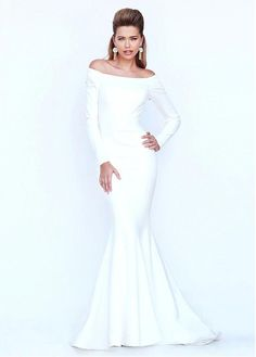 Buy discount Fitted Stretch Satin Off-the-shoulder Mermaid Evening Dresses With Long Sleeves at Dressilyme.com