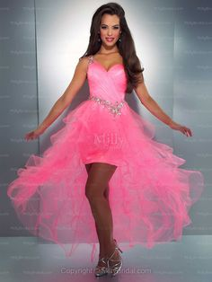 A-line One Shoulder Organza Asymmetrical Pink Beading Prom Dress at Millybridal.com