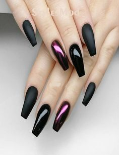 Premium Black With Xtreme Matte Nail Designs For Visit here and check out the Latest & Perfect Combination Style of Nail Designs for the Modern Decade of Manicure style are the Modern way to get the more attraction in any event. Cute Acrylic Nails, Matte Nails, Fun Nails, Gradient Nails, Holographic Nails, Stiletto Nails, Black Nail Designs, Nail Art Designs, Unique Nail Designs