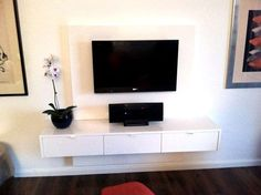 Floating television unit with White Duco/White Duco configuration.