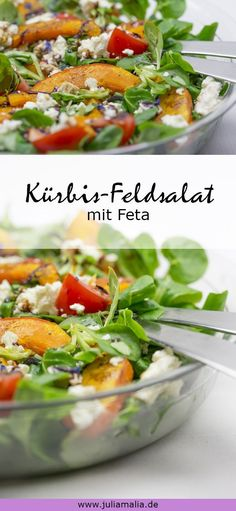 Delicious pumpkin salad with feta and tomatoes. The perfect recipe for those who love pumpkin and salad. Delicious pumpkin salad with feta and tomatoes. The perfect recipe for those who love pumpkin and salad. Salad Recipes For Dinner, Healthy Salad Recipes, Best Tuna Salad Recipe, Pumpkin Salad, Feta Salat, Queso Feta, Corn Salads, Perfect Food, Healthy Cooking