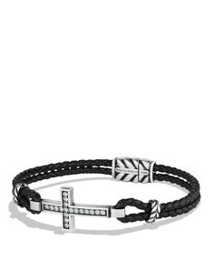 David Yurman Cross Bracelet with Gray Sapphires and Blue Lace Agate