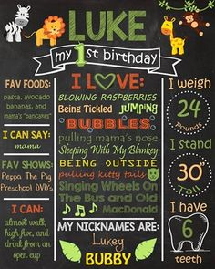 Birthday Chalkboard Poster Sign • Jungle Safari Theme • Free economy shipping • Fast turnaround time • Great customer service • These birthday boards are custom, high resolution digital files that are personalized for each customer upon order