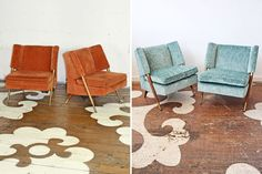We are absolutely in love with this unusual mid-century pair. We don't know who the designer was, we only know they were produced in Italy. We sourced these through our Annex and they were snapped up (along with a second very similar pair) by wonderful, savvy clients. Philadelphia designer Lars Spicer purchased this pair and chose a gorgeous cut velvet textile in an all-over fernlike leaf pattern, Lizong, from Osborne & Little, designed by Nina Campbell.