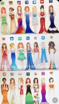 Risultati immagini per humanized social media fashion Dress Drawing, Drawing Clothes, Cool Art Drawings, Art Drawings Sketches, Drawing Ideas, Dress Sketches, Drawing Poses, Drawing Tips, Fashion Design Drawings