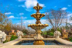 Top of White Garden at Clark Gardens in Weatherford, TX Clark Gardens, Weatherford Tx, Garden Oasis, White Gardens, Fountain, Lawn, Gardening, Outdoor Decor, Nature