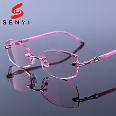 a58cce5c84 Tinted Reading Eyeglasses Pink Frames Presbyop Glasses Women Optical  Hyperopia Female Rimless Rhinestone Woman Crystal Spectacle