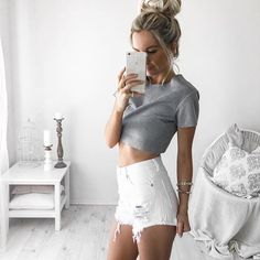 Denim Shorts + Crop Tee