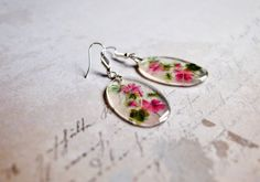 Cameo floral earring pink garden jewelry gift clear resin oval jewelry for her cute pretty in...
