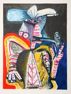 Title: Personnage a la Pipe Year of Original: 1971 Year of Publication: 1979-1982 Medium:  Lithograph on Arches Paper Edition: 500, 34 AP's Paper Size: 29 x 22 inches Ref #: 16-E