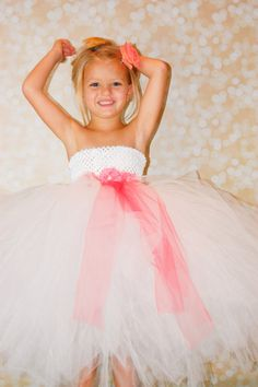White and Coral Tutu Flower Girl Dress by PoshPixieTutu on Etsy, $69.99