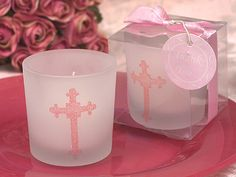 Pink Glitter Cross Candle Favors, Baptism, Christening, Communion Favors, Girl