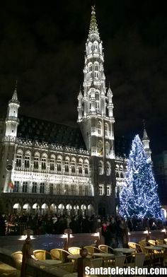Grand-Place in Brussels in Belgium with Christmas Lights