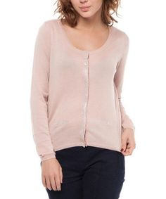 Look what I found on #zulily! Pink Embellished Button-Up Cardigan #zulilyfinds