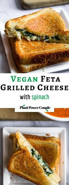 This vegan feta grilled cheese with spinach is our fun take on a classic grilled cheese and pairs perfectly with tomato soup. The easy recipe uses either our homemade tofu feta or one of the many store-bought vegan fetas now available. It will impress the pants off your next lunch guests! #vegan #vegancheese #veganfeta #vegangrilledcheese #dairyfree #grilledcheese #veganlunch #veganrecipe #easyveganrecipe #vegandinner #vegansandwich Vegan Sandwich Recipes, Vegan Breakfast Recipes, Delicious Vegan Recipes, Vegan Snacks, Vegan Desserts, Vegan Sandwiches, Healthy Recipes, Vegan Feta Cheese, Vegan Tomato Soup