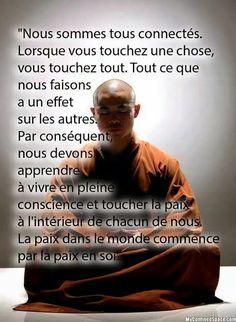 """""""Nous sommes tous connectés. Lorsque vous touchez une chose, vous touchez tout. Tout ce que nous faisons a un effet sur les autres. Par conséquent, nous devons apprendre à vivre en pleine conscience et toucher la paix à l'intérieur de chacun de nous. La paix dans le monde commence par la paix en soi."""" Positive Mind, Positive Attitude, Positive Quotes, Zen Attitude, Yoga Quotes, Words Quotes, Serenity, Staff Motivation, Proverbs Quotes"""