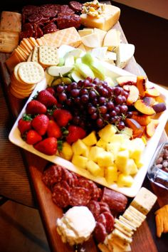How to Make a Cheese/Meat/Fruit Tray/Board _ I thought I would share what I like to buy when I'm putting a tray together. Don't forget fresh seasonal fruits like, peaches, pears, apples, pineapple, grapes, and strawberries. (Note: THIS IS AMAZING)!!