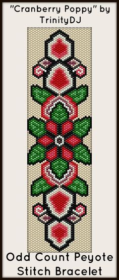 """NEW AND EXCITING NEWS : Here's your chance to test bead new designs and earn DISCOUNTS on your next 'In the Raw' Design! """"Cranberry Poppy"""" (Odd Count Peyote stitch bracelet pattern) is one of the designs in this section. Please follow this link for more info:http://cart.javallebeads.com/Cranberry-Poppy-Odd-Count-Peyote-Pattern-p/td080.htm"""