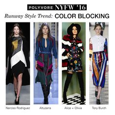"""""""NYFW Runway Trend: Color Blocking"""" by polyvore-editorial ❤ liked on Polyvore featuring Alice + Olivia, Tory Burch, Altuzarra, women's clothing, women, female, woman, misses, juniors and NYFW"""