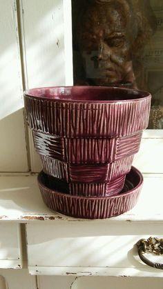 "Vintage McCoy Pottery ""Stepped Thatch"" Basket weave Purple Planter"